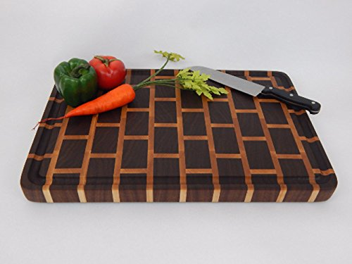Handcrafted Wood Cutting Board - End Grain Walnut and Maple Brick Pattern by Unique Wood Cutting Boards