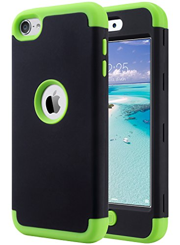 Generations Green - ULAK iPod Touch Case 6th Generation, iPod Touch 7 Case, iPod 5 Case, Heavy Duty High Impact Knox Armor Case Cover Protective Case for Apple iPod Touch 5 6th 7th Generation (Black+Green)