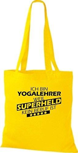 Shirtstown Bolso de tela Estoy Profesor de yoga, weil Superheld sin Trabajo ist amarillo dorado