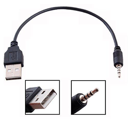 2.5mm Male AUX Audio Jack To USB 2.0 Male Charge Cable Adapter Cord / Data (Usb Stereo Cable)
