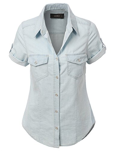 LE3NO Womens Cuffed Sleeve Chambray product image