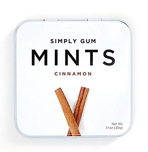Natural, Vegan Breath Mints by Simply Gum, Cinnamon, 45 Count, Pack of 6