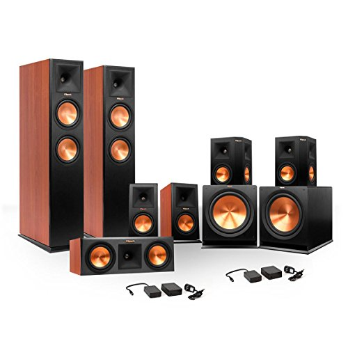 Klipsch 7.2 RP-250 Reference Premiere Surround Sound Speaker Package with R-110SW Subwoofers and two FREE Wireless Kits (Cherry)
