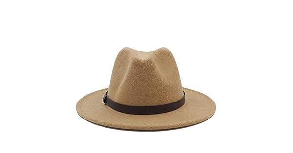 Goodscene Moda Unisex Sombrero de Invierno Inicio Sombrero de Hombre y  Mujer - Fedora Khaki Sombrero de cinturón de Bricolaje para Caballero  Triturador ... 3f4e513801a