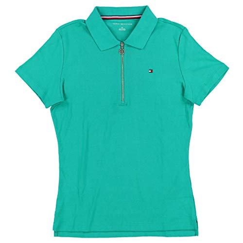 (Tommy Hilfiger Womens V-Neck Zip Polo Shirt (Large, Green))