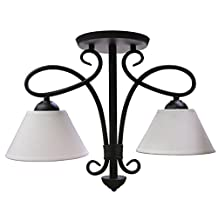 ITC (34100-SS96BEY00-DB) Savannah Black 2-Arm Cream Cone Dinette Light with Switch