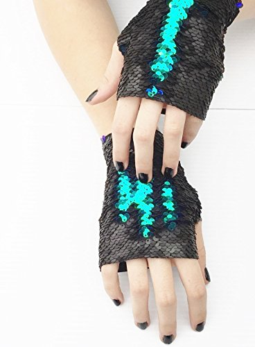 Dragon Paws Mermaid Reversible Sequin Fingerless Gloves matte Black Blue Green