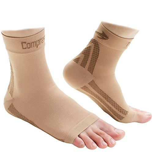 Foot Sleeves (1 Pair - Nude XL) Best Plantar Fasciitis Co...