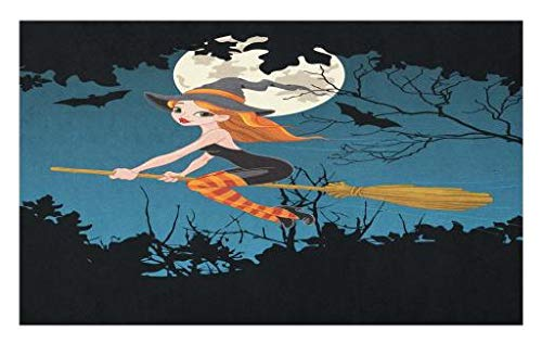 Lunarable Witch Doormat, Cute Girl Halloween Character Flying on Broom Mysterious Spooky Woodland at Midnight, Decorative Polyester Floor Mat with Non-Skid Backing, 30 W X 18 L Inches, Multicolor]()