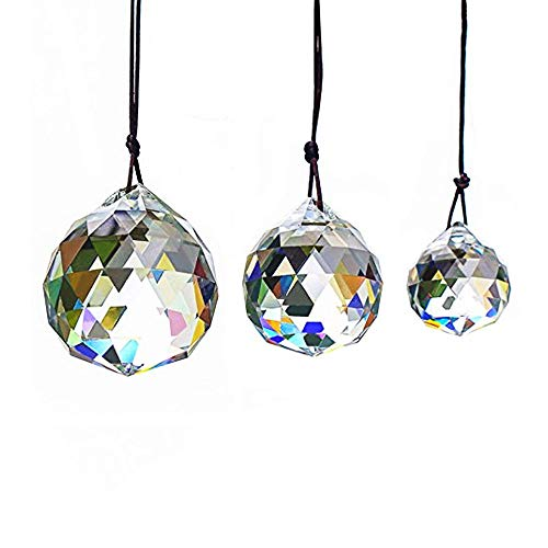 MHMJON 3pcs Glass Faceted Crystal Ball Clear Hanging Prism Pendant Feng Shui Window Ceiling Lamp Lighting Hanging Drop Wedding 30/40/50MM