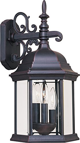 Maxim 1073CLEB Builder Cast 3-Light Outdoor Wall Mount, Empire Bronze Finish, Clear Glass, CA Incandescent Incandescent Bulb , 2.5W Max., Dry Safety Rating, 3000K Color Temp, Standard Triac/Lutron or Leviton Dimmable, Frosted Acrylic Shade Material, Rated Lumens