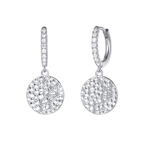 (Carleen White Gold Plated 925 Sterling Silver CZ Cubic Zirconia Round Circle Dangle Drop Small Hoop Earrings For Women Girls)