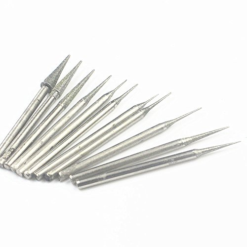 - MoMark 2.35mm Shank Tapered Head Diamond Grinding Burr Drill Bits Sets for Dremel Rotary Tools