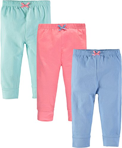 Wan-A-Beez Boys' and Girls' 3 Pack Pants (12 Months, Coral/Aqua/Blue)