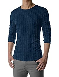 THK02 Mens Slim Fit Twist Tee Crew Neck Lightly See-Through Stretchy Tshirts