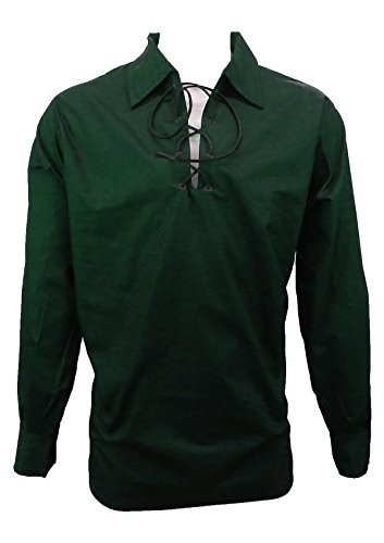 UT Kilts Jacobite Ghillie Shirt - Black, Cream, or White (Large, Green)