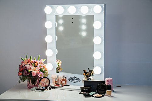 Broadway Lighted Vanity Mirror Gloss Black : White Vanity Girl Broadway Lighted Vanity Mirror with 2 Outlets and Dimmer Switch - 13 Makeup ...