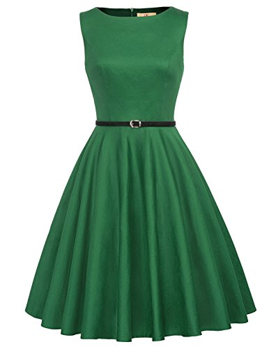 GRACE KARIN Solid Color 50s Dress Tea Length Wear to Work Green Size XL ()