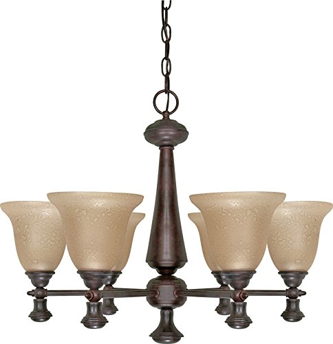 Nuvo 6 Light Chandelier with Amber Water Glass