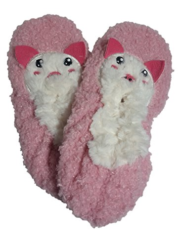 Jacques Moret Women Slipper Socks Animal Critter Barboncino Medio Rosa Zavorra Rovesciata