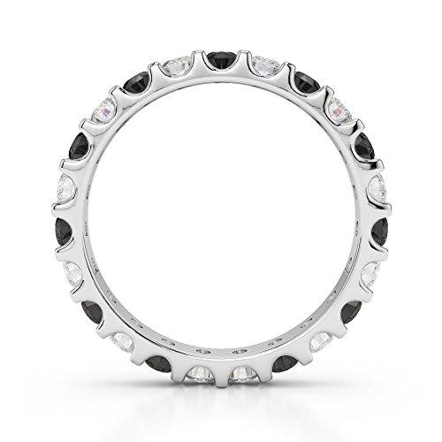 Or blanc 18carats 0,67CT G-H/VS sertie de diamants ronds Coupe Noir éternité Bague Agdr-1105