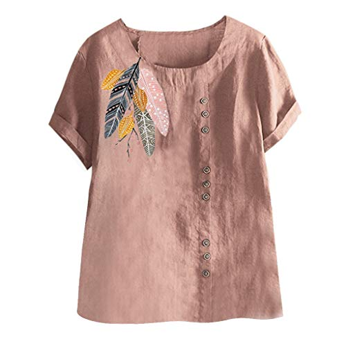 NEARTIME Women Plus Size ShirtsNew Cotton and Linen O-Neck Applique Short Sleeve Tops Solid Color Casual Athletic Business T-Shirts
