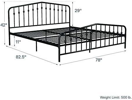 Novogratz Bushwick Metal Bed with Headboard and Footboard | Modern Design | King Size – Black 41e iIwNuqL