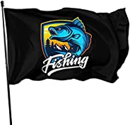 Fishing tournament American Flag 3x5 Foot Outdoor Pop Small Cool Banner with Pole ,Double-Stitched Edges,USA F