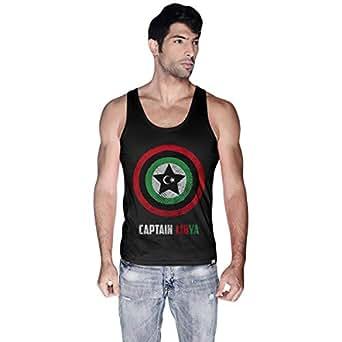 Creo Black Cotton Round Neck Tank Top For Men