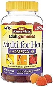 Nature Made Multi for Her Plus Omega-3s Adult Gummies, Lemon, Orange & Strawberry 90 ea (Pack of 2)