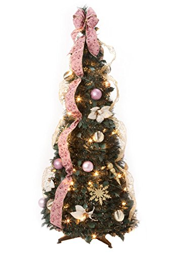 HOLIDAY PEAK 4' Victorian Style Pull-Up Christmas Tree, Gold and Blush Pink, Pre-Lit and Fully Decorated, Collapses for Easy Storage (Christmas Tree Victorian Designs)