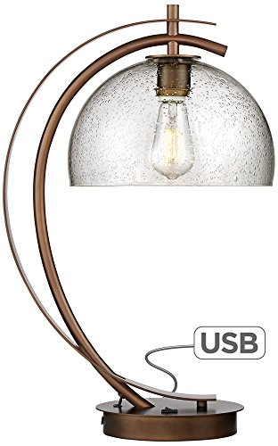 Dome Glass Table Lamp (Calvin Glass Dome LED Table Lamp with USB Port)