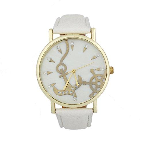 Shensee Vogue Simple Anchors Unisex Leather Band Analog Quartz Vogue Wrist Watches White