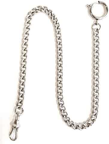 Dueber Chrome Plated Stainless Steel Pocket Watch Chain with Spring Ring