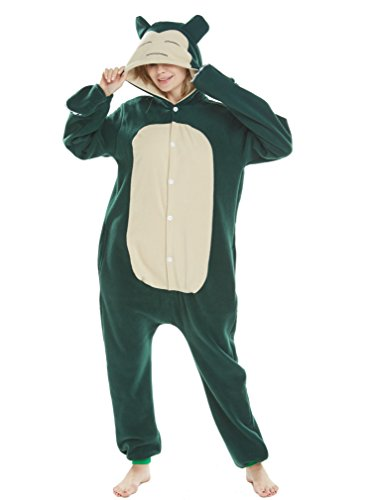 Unisex Adult Pajamas Christmas Costume Snorlax One Piece Pajamas Stitch Onesies Cosplay Snorlax M