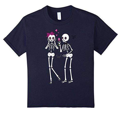 Old Navy Cat Costume (Kids Skeleton Couple Love Skull Hearts costume Halloween T-Shirt 12 Navy)