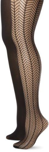 Anne Klein Women's 2 Pair Pack Herringbone Net Tight, Black/Black, Small/Medium ()