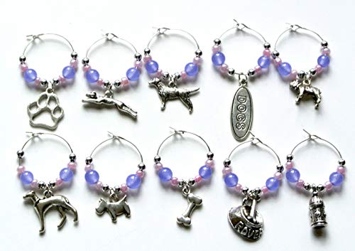 Dog Wine Glass Charms with Purple Beads (Set of 10)