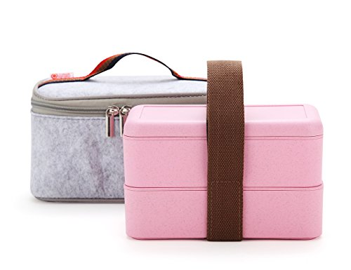 Bento Box,Wheat Straw Portable Leakproof Lunch Box with Lunch Bag, Eco-friendly Food Storage Container for kids, Microwave/Dishwasher/freezer safe.(Pink)