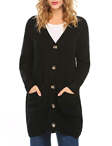 HOTOUCH Women's Long Sleeve Deep V-Neck Knitted Button Up Cardigan Sweater Black S ()