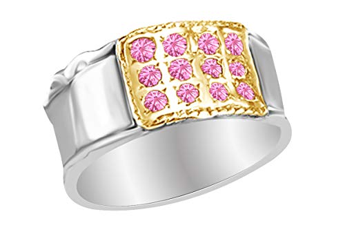 - AFFY 14k White Gold Over Sterling Silver Round Shape Simulated Tourmaline Two Tone Fashion Ring Size 4