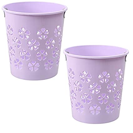 XSHION Waste Paper Basket Multi-Purpose Hollowed-Out Plastic Rubbish Bin Trash Can Purple 2 Pack