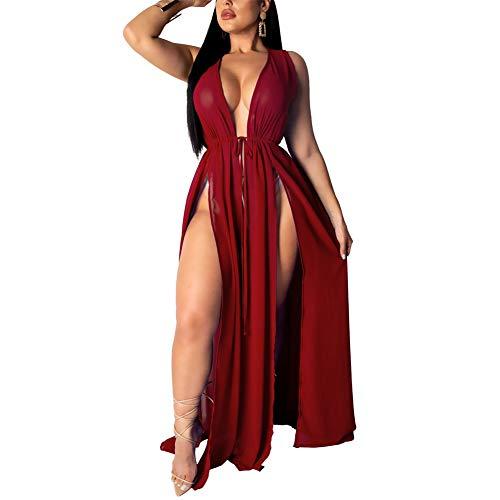 - Chiffon Cardigan Swimsuit Cover up - Women's Sleeveless See Through Slit Long Maxi Beach Dress with Belt Wine red XXL
