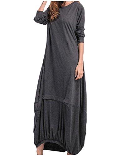 Coolred Lunga Grigio shirt Abito Selvaggio donne Tinta Manica T Casuale Scuro Unita pXawpr