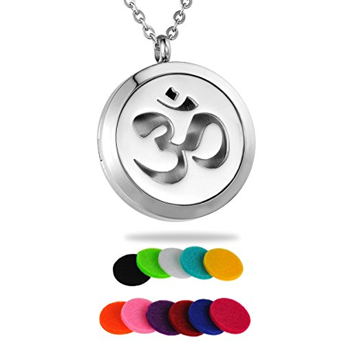 HooAMI Aromatherapy Essential Oil Diffuser Necklace - Yoga Aum Om Ohm Sanskrit Symbol Locket Pendant