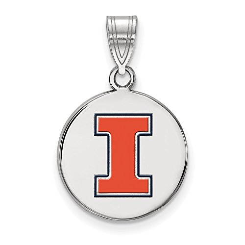 925 Sterling Silver Officially Licensed University College of Illinois Medium Enamel Disc Pendant (24 mm x 15 mm)