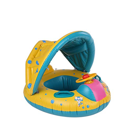 UJUNE-SWIM Summer Soft Baby Swimming Pool Float Boat Rider with Detachable Sun Canopy Shade Toys for Baby Kid Children