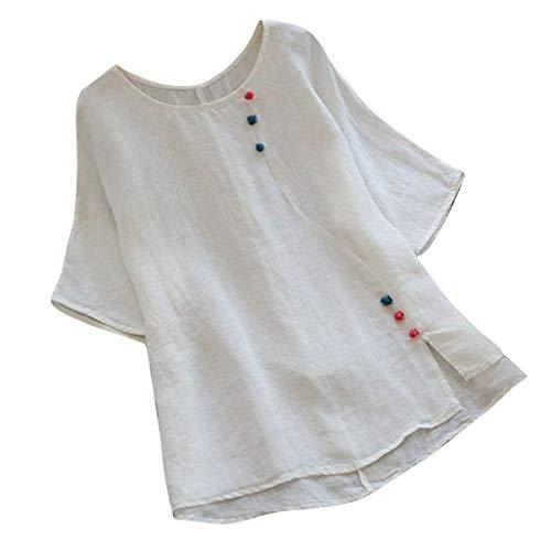 - Gahrchian Women Cotton Linen T Shirt Tops Ladies Short Sleeve O Neck Tops Summer Casual Blouse Tops White