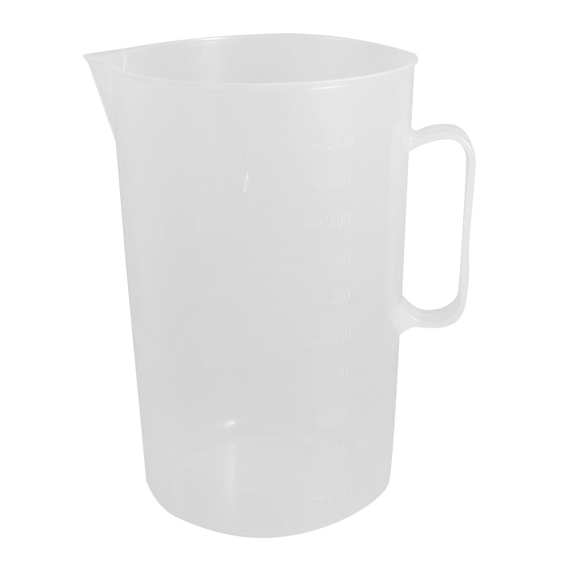 Water & Wood Clear White Plastic 2000mL Graduated Lab Measuring Cup Mug w Handle