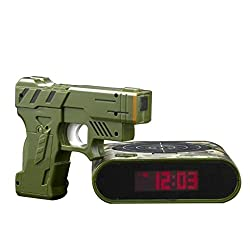 Digital Gun Alarm Clock,DeeXop Infrared Gun Alarm Clock With Sound Effects